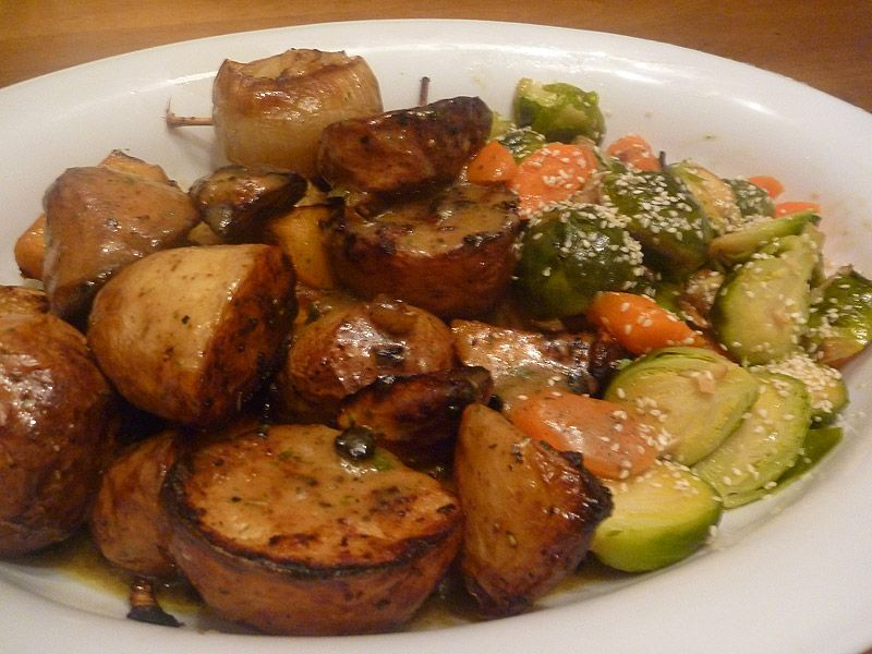serving suggestions with roasted potatoes and brussel sprouts - Google Search