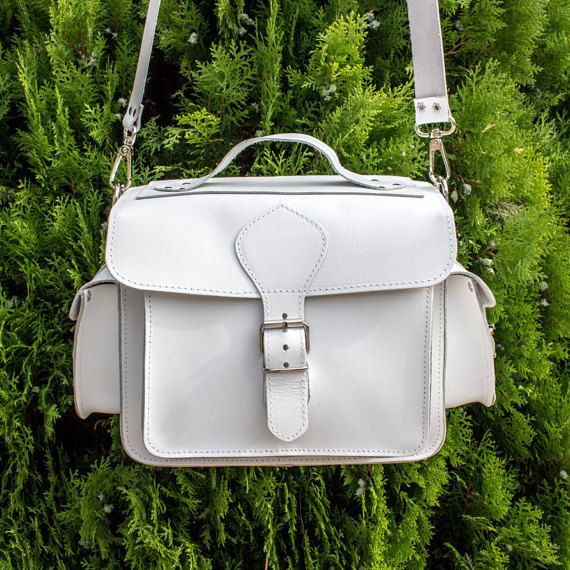Leather DSLR Camera Bag WHITE plus black by MagusLeather on Etsy