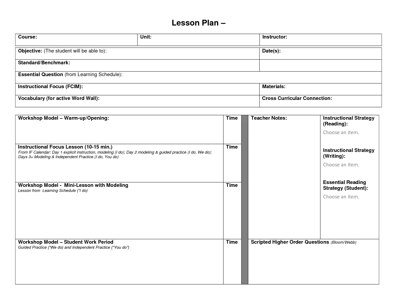 Blank Lesson Plan Format Template Blank Lesson Template