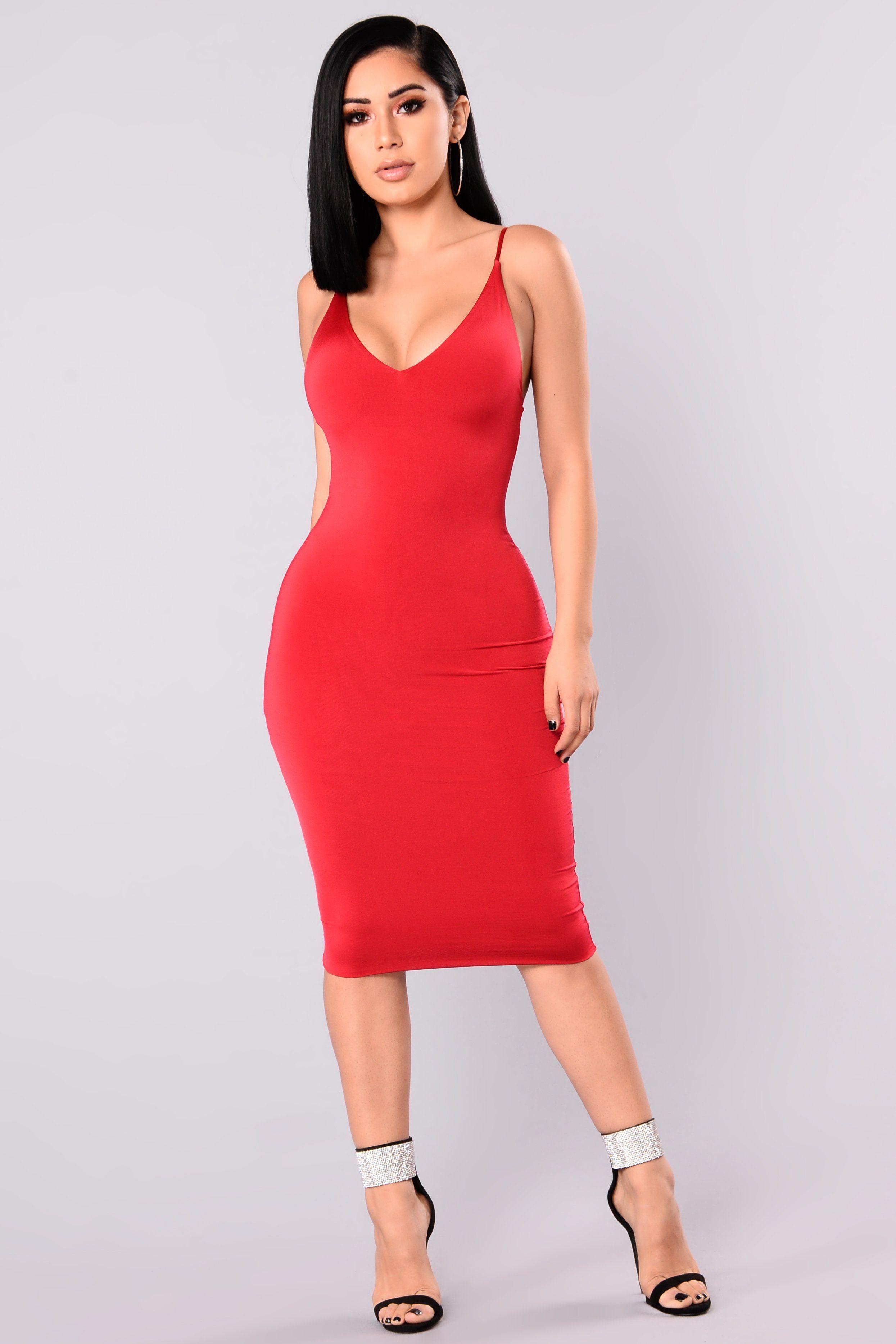 Anne Marie Midi Dress - Dark Red | Dark red, Midi dresses and Dark