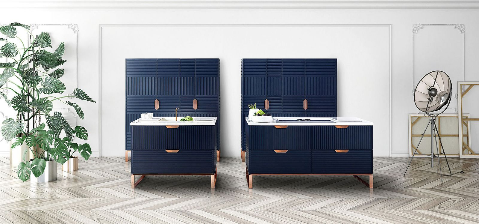 Blue kitchen with copper details