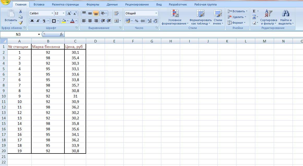 Практическая работа по информатике 9 класс exel