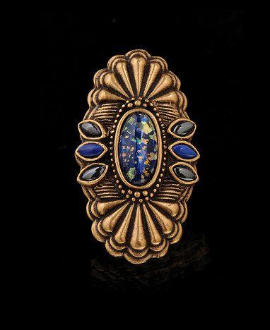 Womens Concha Cabochon Ring  Blue
