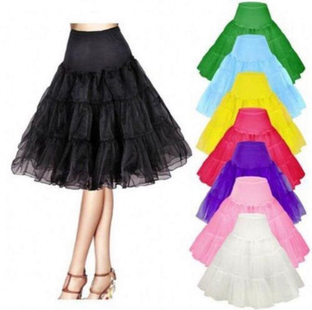 """Women Vintage Petticoat Skirt Tutu Crinoline Underskirt Slips 26/"""" Length"""