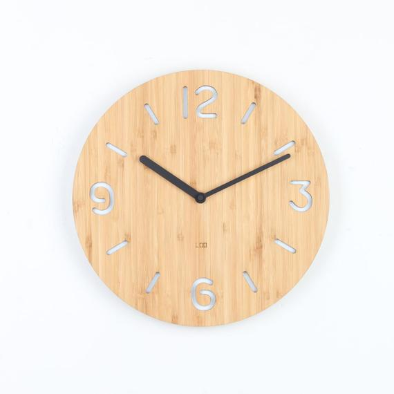 Loo Bamboo Wall Clock Round Number White Kitchen Vintage Modern Bamboo Wall Clock Bamboo