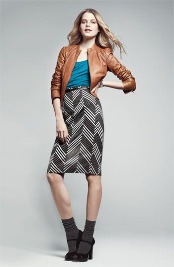 Cute color combo with chevron pattern. Could pair up lots of solids with this. Halogen® Leather Jacket, Tank & Skirt | Nordstrom