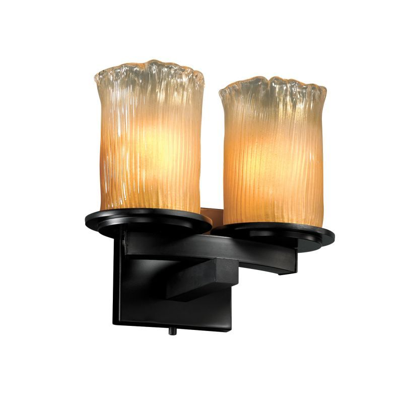Justice Design Group GLA-8775 Dakota 2 Light Curved-Bar Wall Sconce from the Ven Matte Black with Gold Clear Rim Shades Indoor Lighting Wall Sconces
