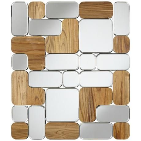 Joyce 34 1 2 high mirror and wood panel wall art 2m980 lamps plus
