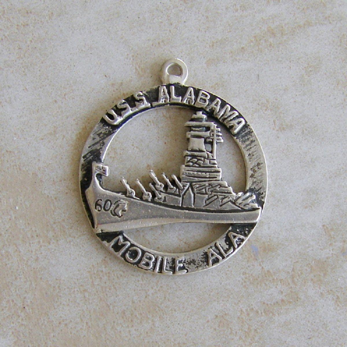 Alabama Charm Bracelet: USS Alabama Ship World War II Battleship Sterling Silver