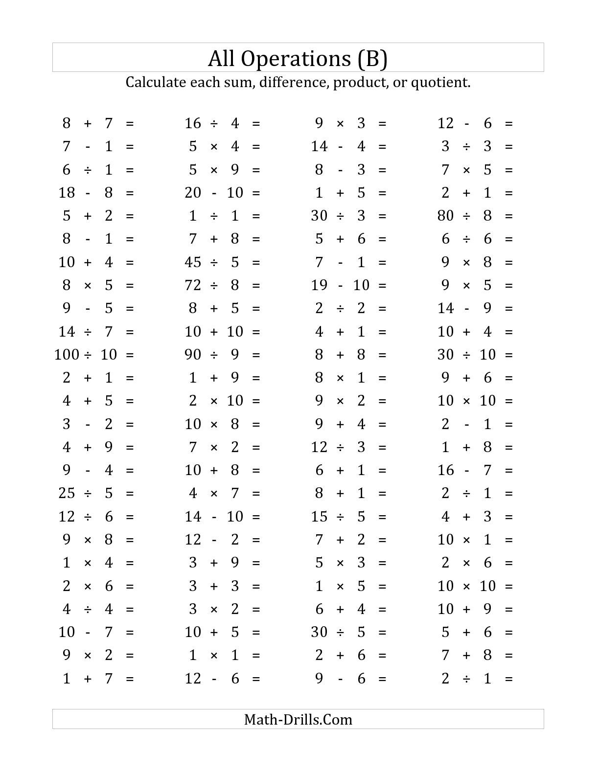 The 100 Horizontal Mixed Operations Questions Facts 1 To 10 B Math Fact Worksheets Math Worksheets Timed Addition Worksheets Mixed operations addition and