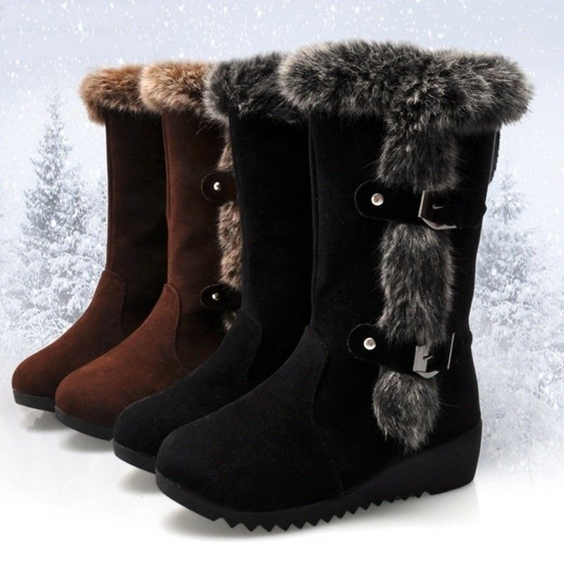 29edcb27fe0 Womens Suede Casual Girls Winter Warm Flats Fur Lined Mid-Calf Snow Boots  Shoes  fashion  clothing  shoes  accessories  womensshoes  boots (ebay link)