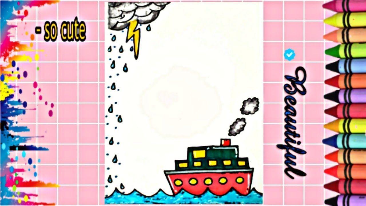 Drawing To Decorate Notebook Boat تزيين دفاتر مدرسة من الداخل على شك Notebook