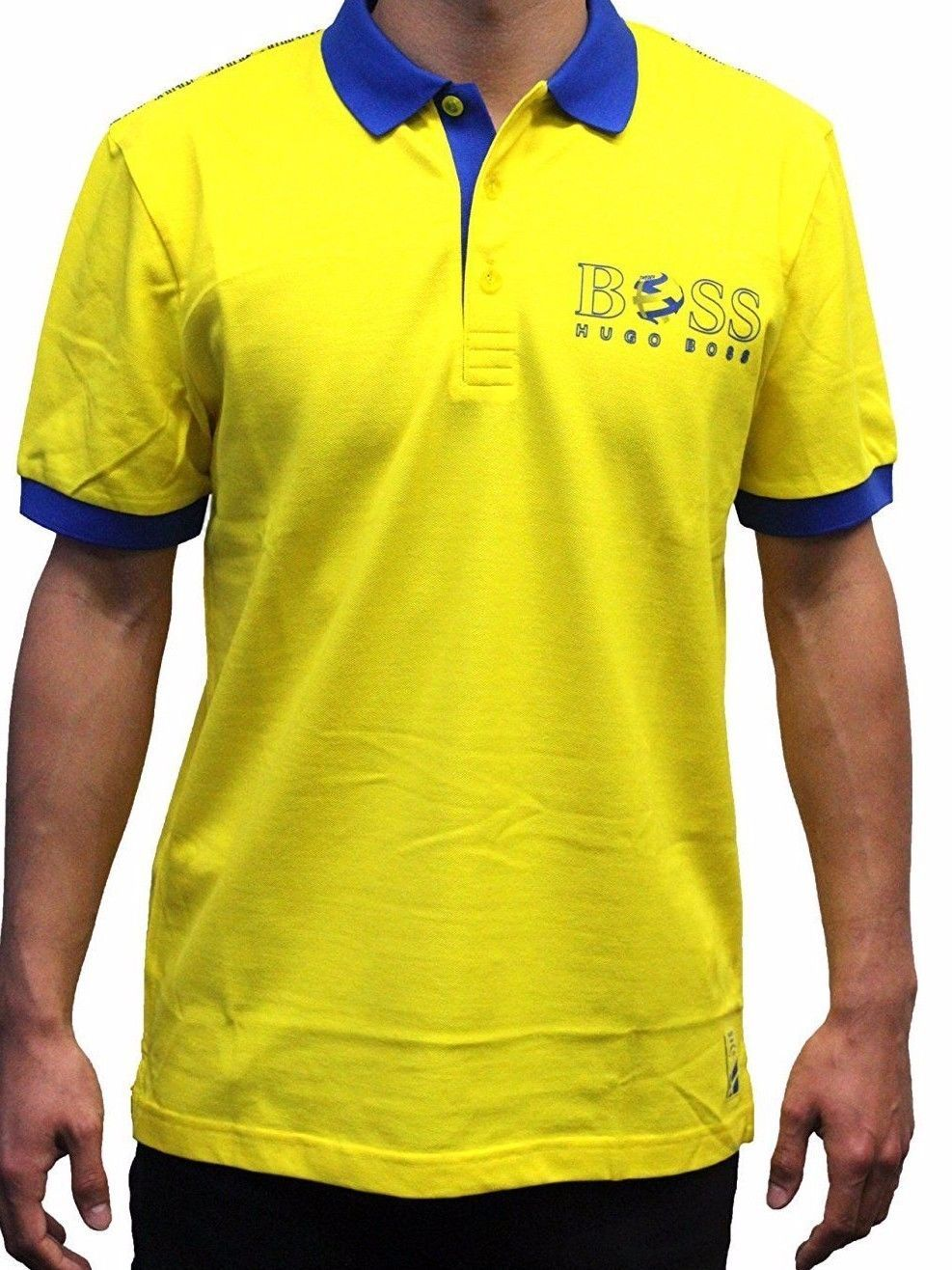 4410eae5b Hugo Boss Paddy Flag 100% Cotton Polo Shirt 50260461-732 Yellow Sweden