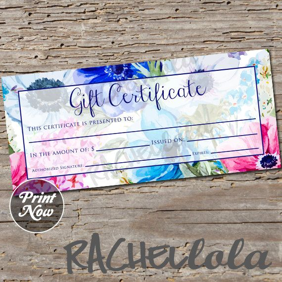 Blue Floral Gift Certificate, Printable, Instant Download
