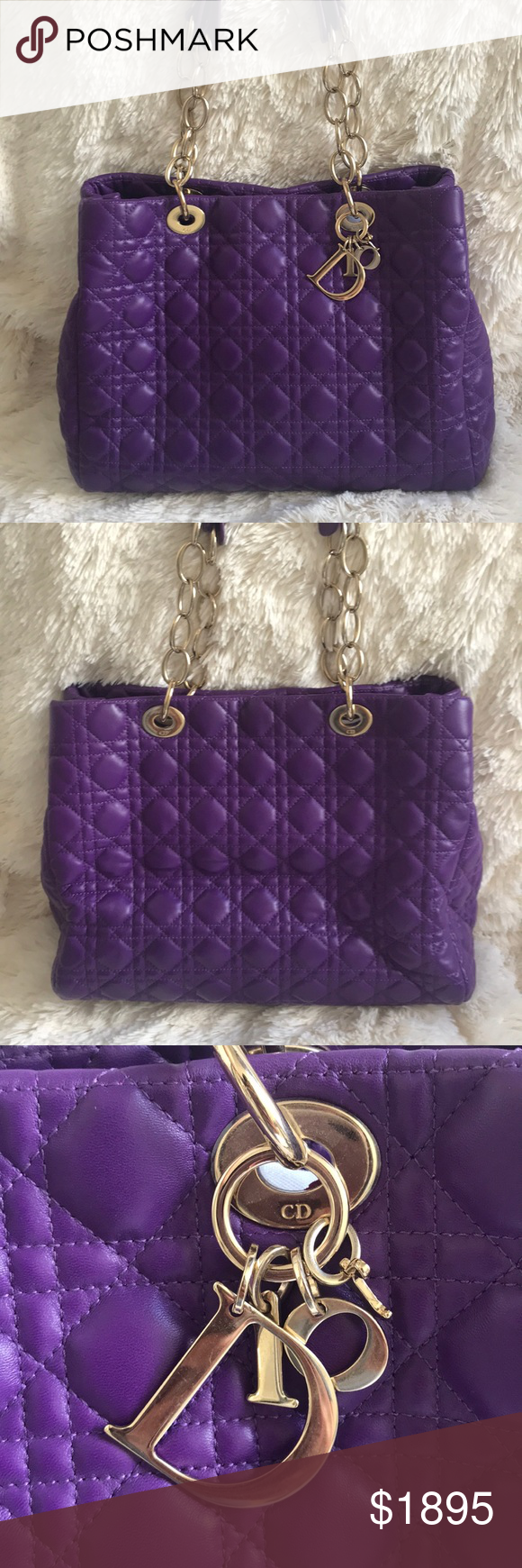 Christian Dior Purple Cannage Quilted Tote Bag Christian Dior Purple Soft  Chain Cannage Quilted Lambskin Large 931483b492f09