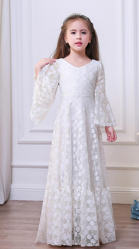 2caecb195 Custom Made White Long Trumpet Sleeve Lace A-Line Evening Dress, Kids  Clothing, Party Frock, Flower Girl Dresses, First Holy Communion Dresses,  ...