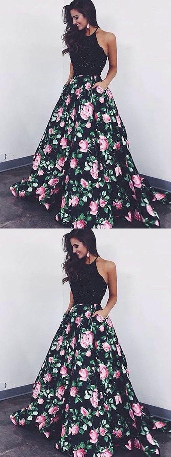 Chic a line prom dress modest beautiful black floral evening dresses