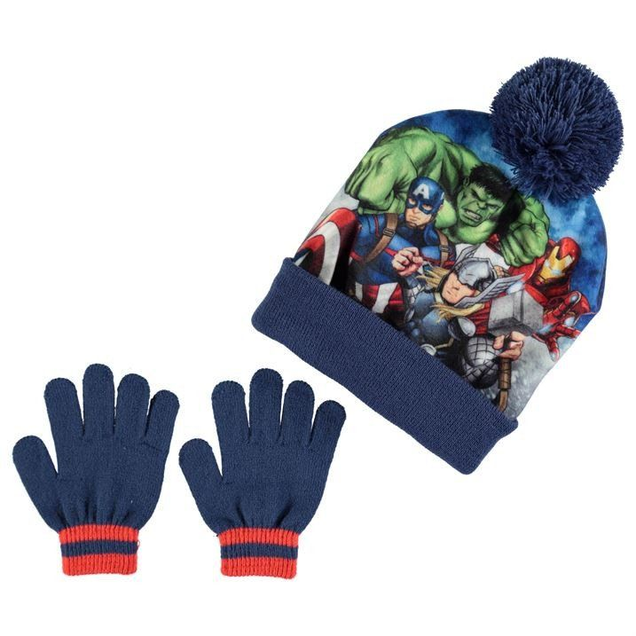64a803cf37e9f Boys Marvel Avengers Hat   Gloves Set
