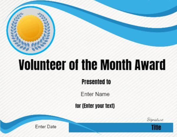Volunteer Of The Month Certificate Template Education Pinterest