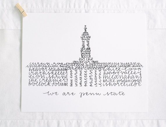 Penn State Wedding Gifts: Penn State University Old Main Illustration By