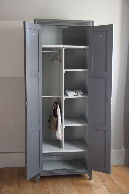 Armoire transform e en vestiaire double gris petite for Armoire pour salon
