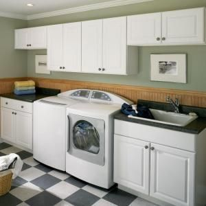 Hampton Bay Hampton Assembled 30x18x12 In Wall Bridge Kitchen Cabinet In Satin White Laundry Room