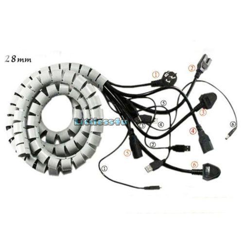 20m 50m Flexible Spiral Cable Cord Power Wire Storage Management Organizer Wrap