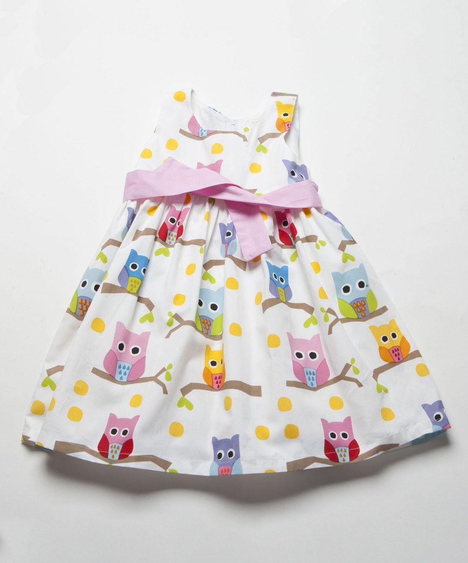 White & Pink Owls Babydoll Dress - Infant, Toddler & Girls by Lourdes #zulily #zulilyfinds