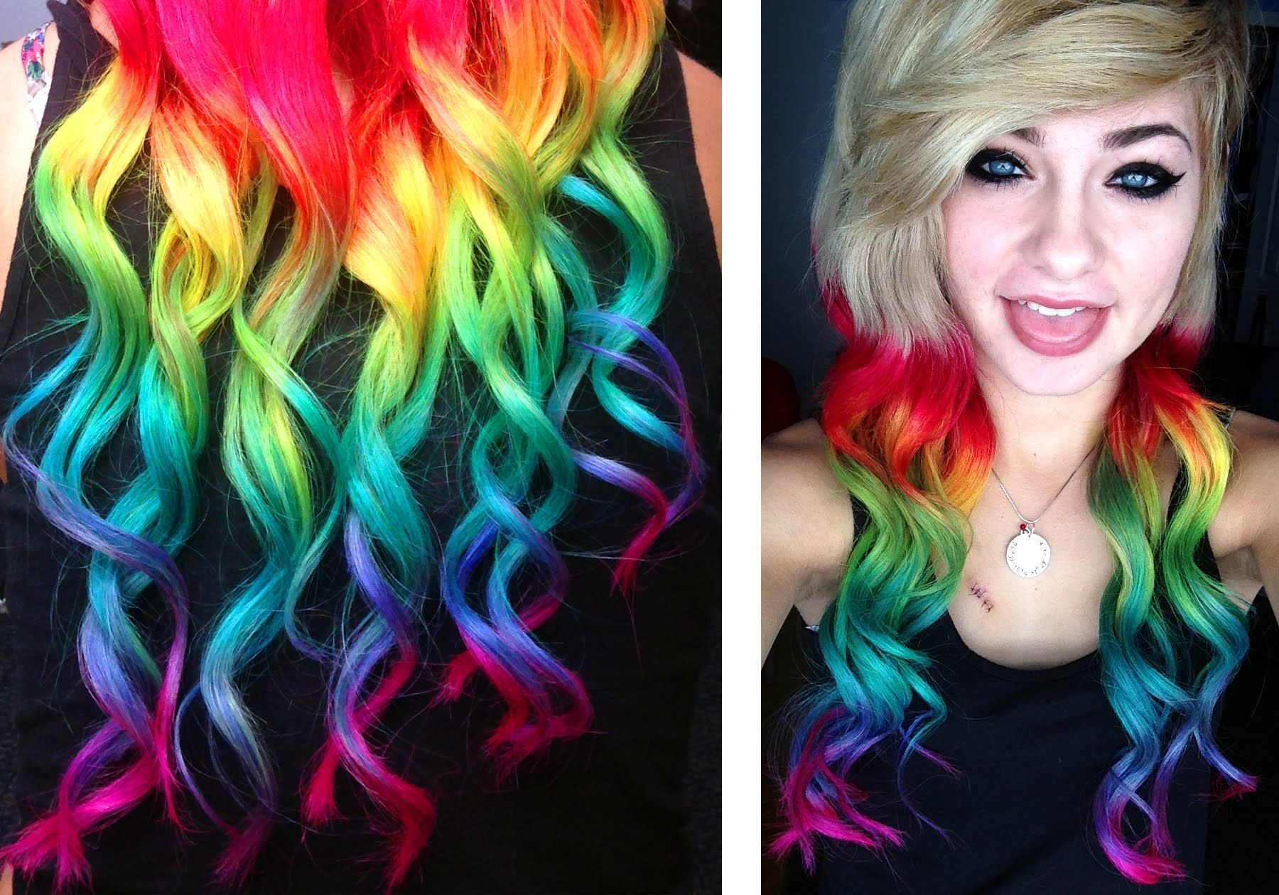 11 Ways To Dye Your Hair Bright Colors At Home Rainbows Rainbow