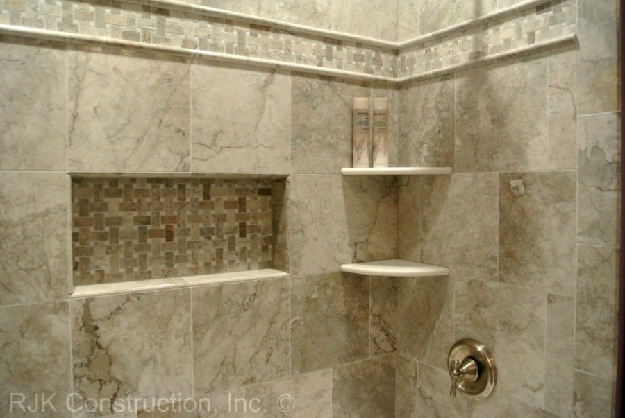 Ceramic tile tub surround ideas stone corner shelves for Tile shower surround