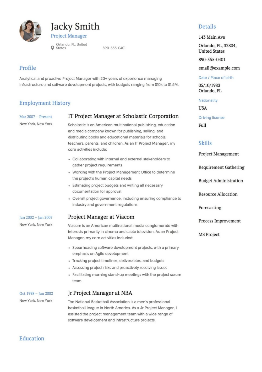 Project Manager Resume Templates 2019 2020 → CLICK MORE