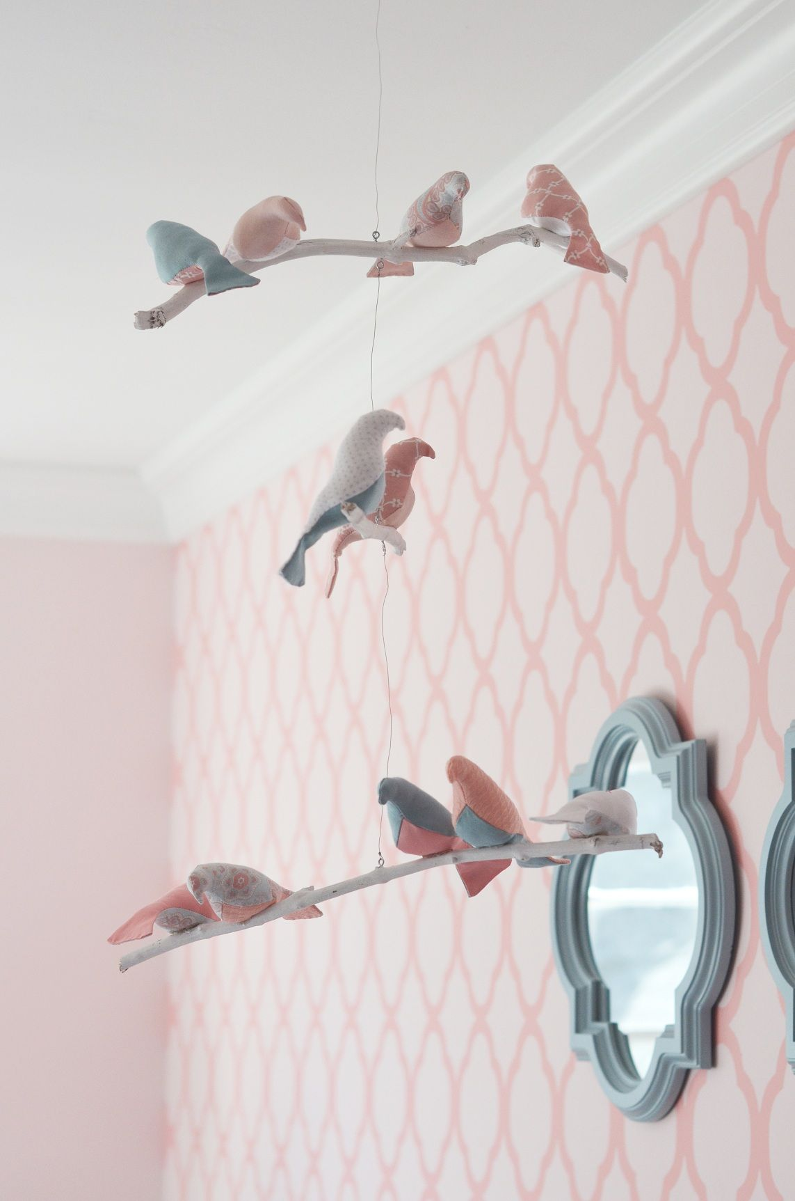 Bird Mobile Patterned Wall