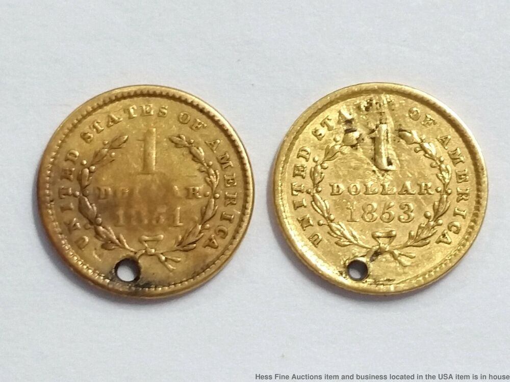 Details About 1851 Type I Gold One Dollar 1 Anacs Au 53 Krc American Coins One Dollar Coins