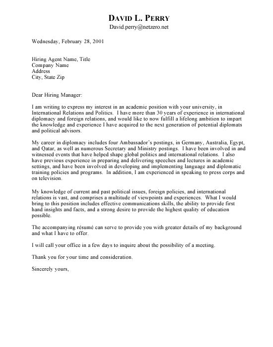 Free Letter Of Interest Templates  Ambassador Cover Letter