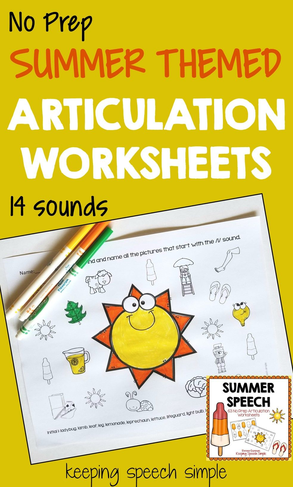 Summer Speech No Prep Articulation Worksheets | Worksheets and Therapy