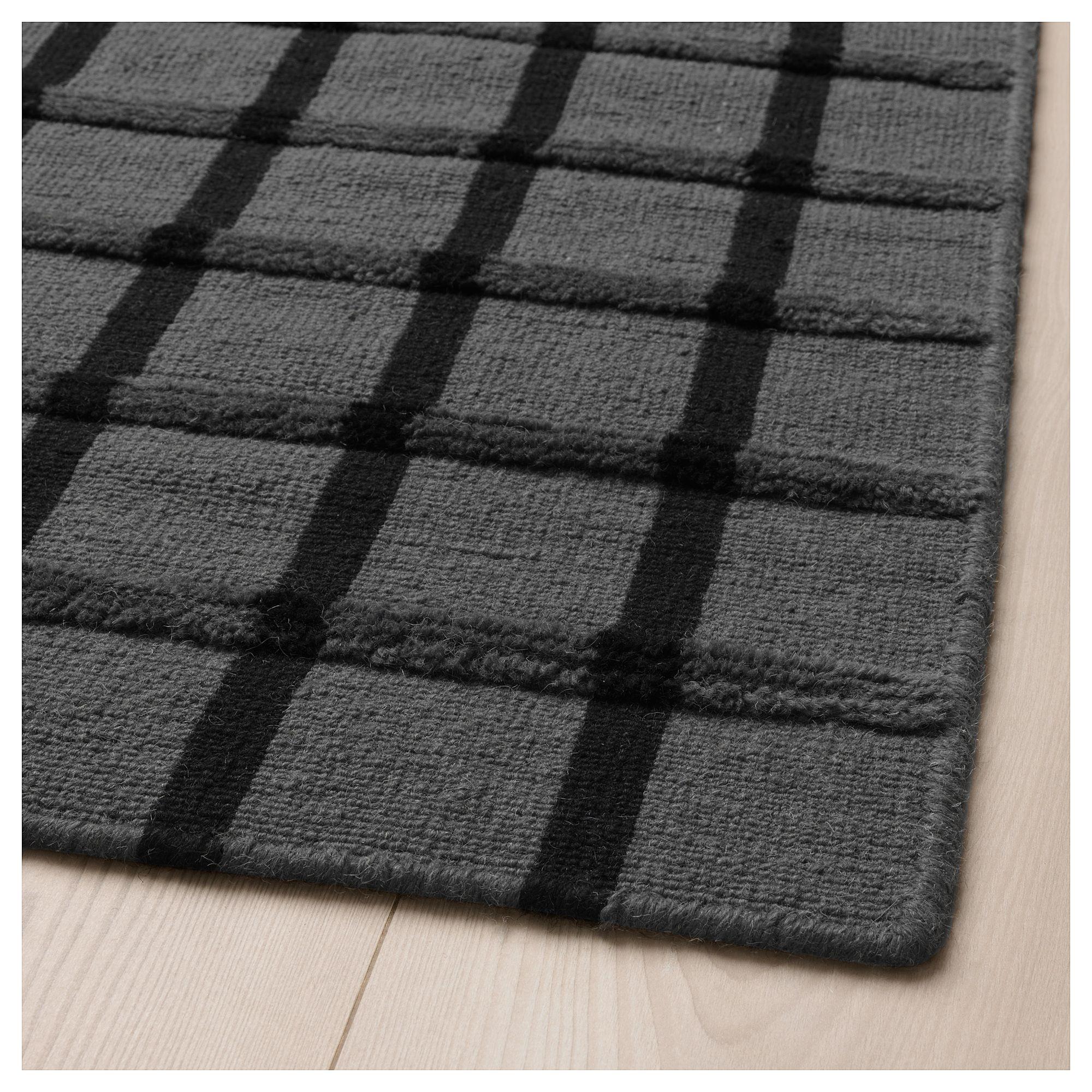 Ikea Foulum Rug Flatwoven Gray Handmade Black