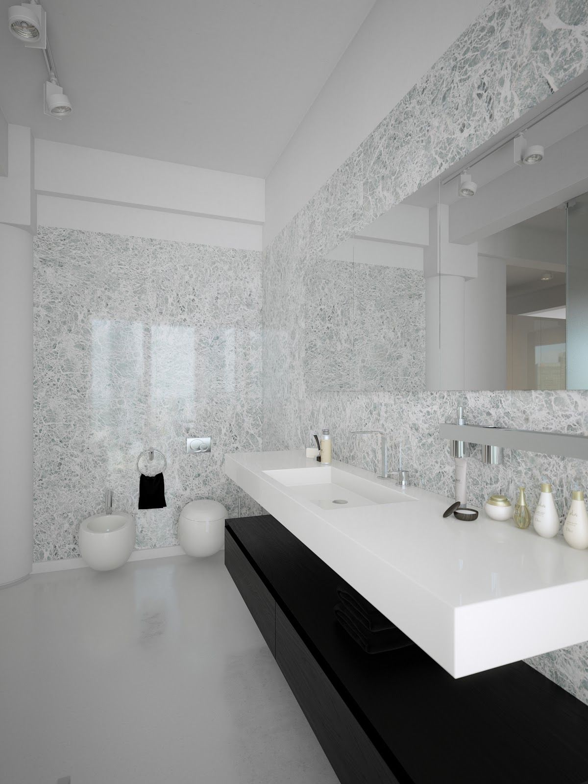Interior, Awesome Black And White Lofts, Simplistic Yet Modern: Black White  Contemporary Bathroom Design White Marble Wall