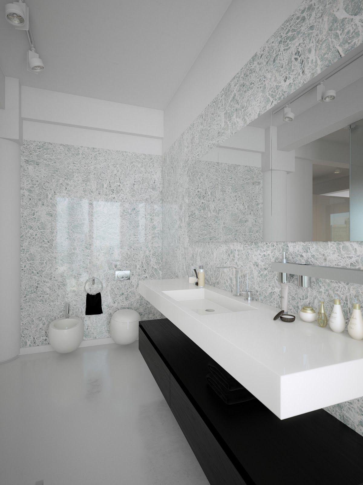 Modern Minimalist Black And White Lofts Minimalist Bathroom