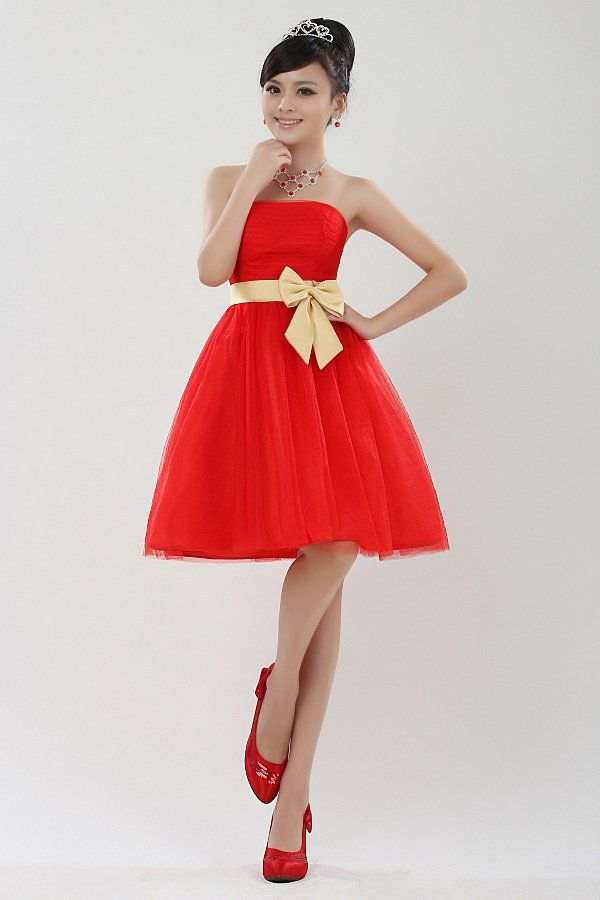 Exteravagant gold belt red bride suit bridesmaid dress princess formal dress  short design Free Shipping  42.93 fa2291d28ae4