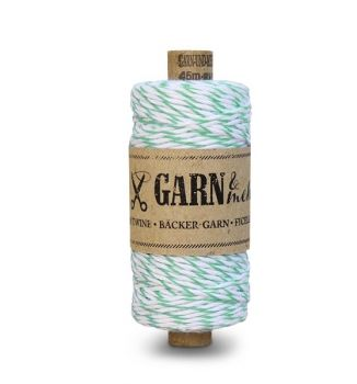 GARN & MEHR | Bäcker-Garn/bakers twine made in Germany - Bäcker-Garn, Mintgrün-Weiss