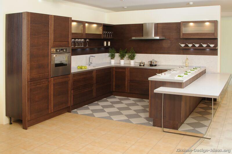 Modern Dark Wood Kitchen Cabinets #04 (Kitchen-Design-Ideas.org ...