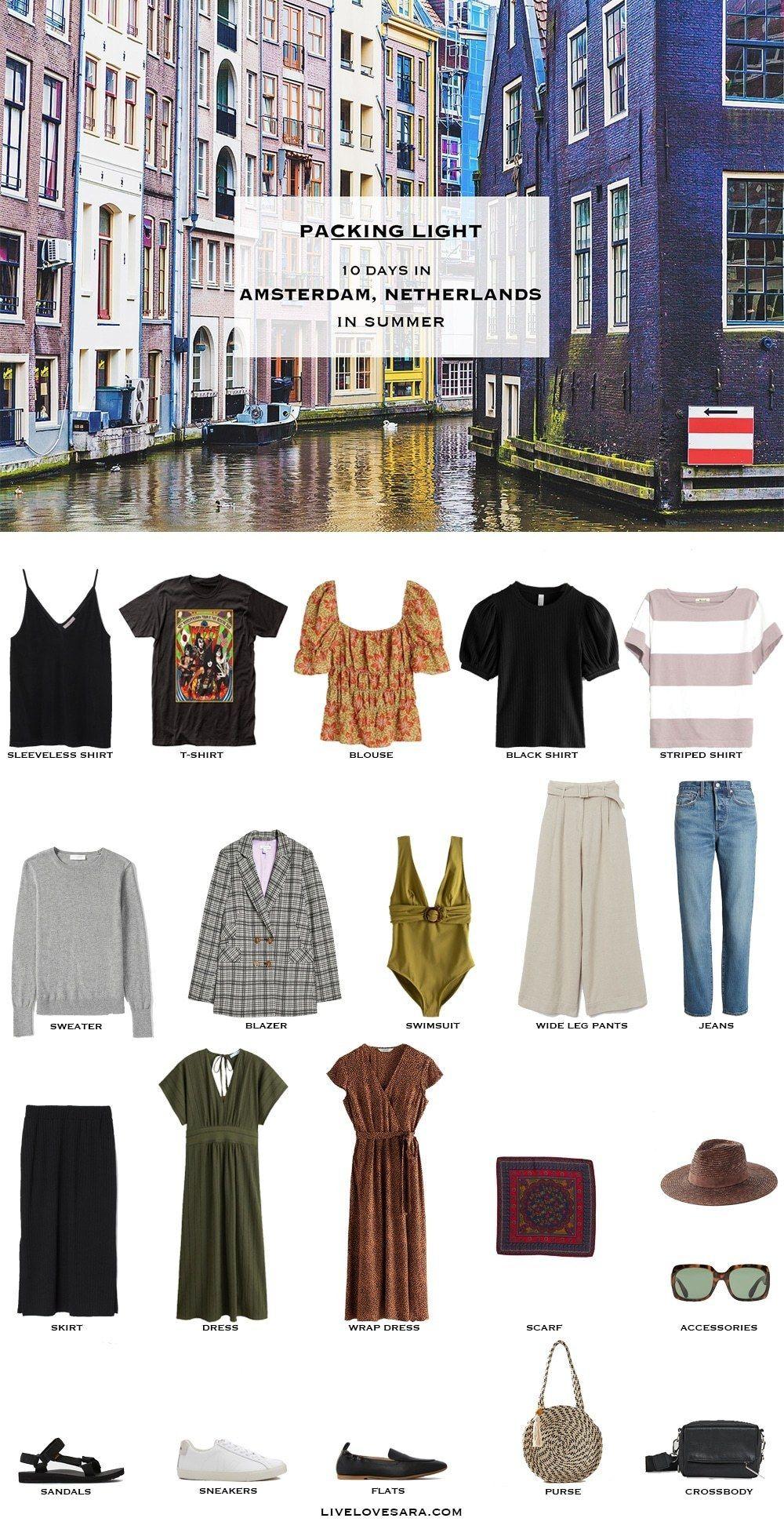 What to Pack for Amsterdam Netherlands in Summer #travelwardrobesummer