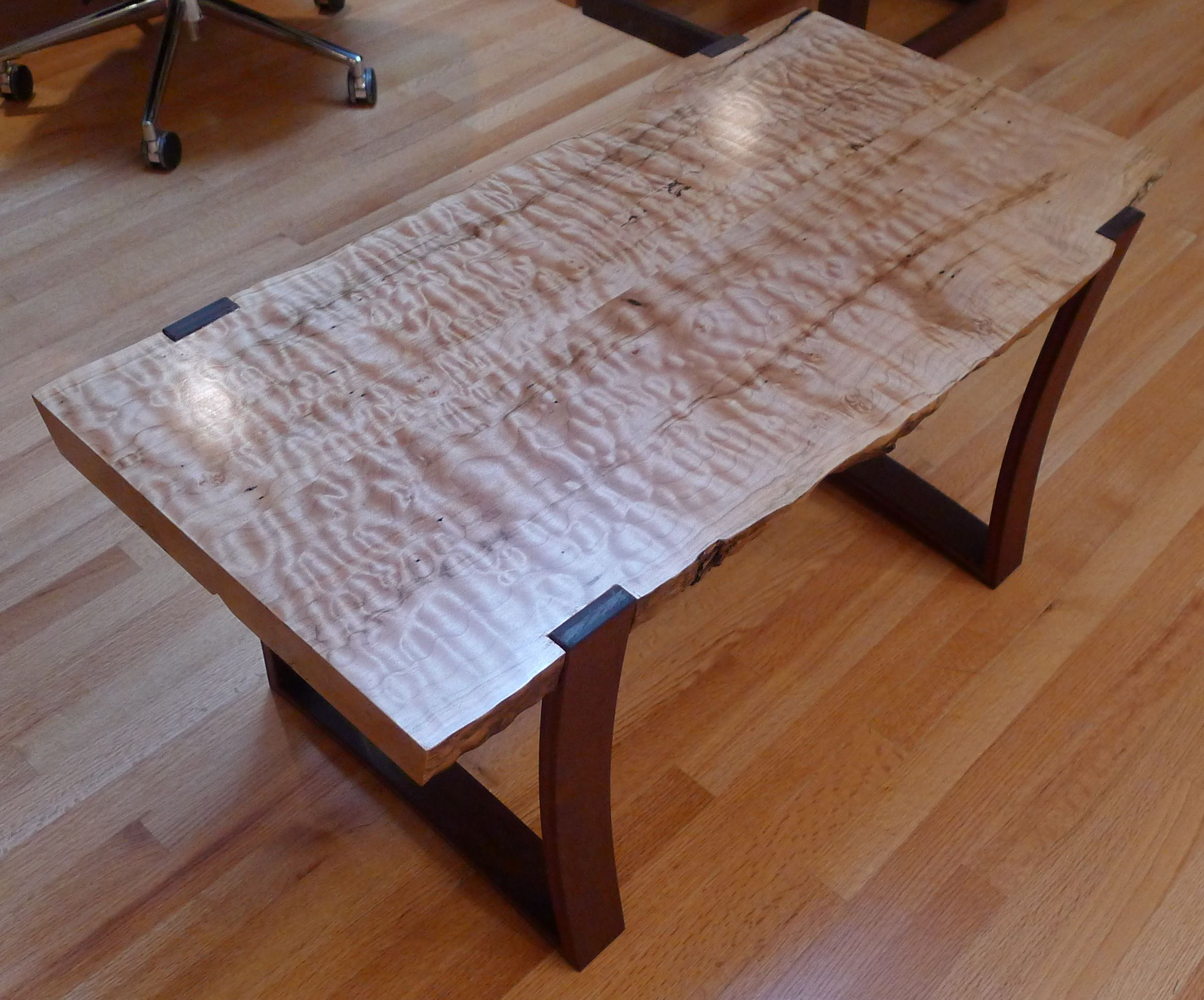 Live edge curly maple slab coffee table with curved ipe for Wood slab coffee table