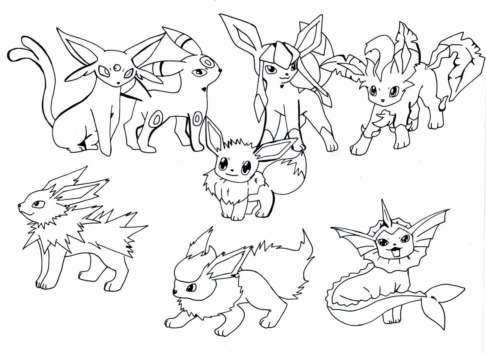 Disegni Da Colorare Di Pokemon.24 Eevee Evolutions Coloring Page In 2020 Pokemon Coloring