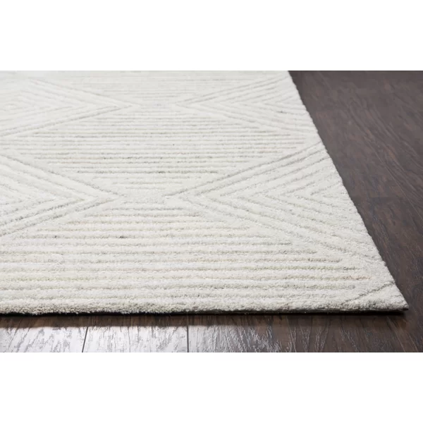 Caper Geometric Hand Tufted Wool Ivory Area Rug Solid Rugs Hand Tufted Rugs Rugs