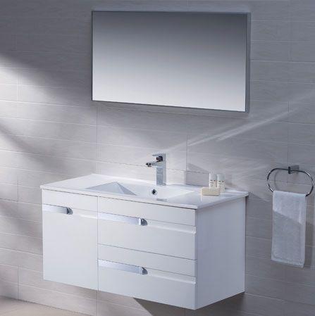 Adornus Yasmine 40 Inch White Wall Mounted Modern Bathroom Vanity Modern Bathroom Vanities All Wood Contemporary Bathroom Vanity Bathroom Vanity White Walls