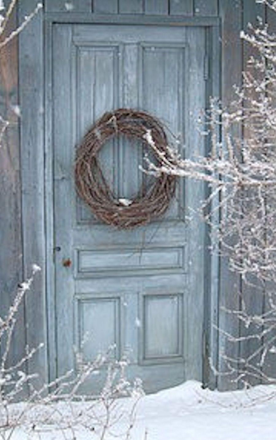 Grapevine wreath on slate blue door sapphire blue for Slate blue front door