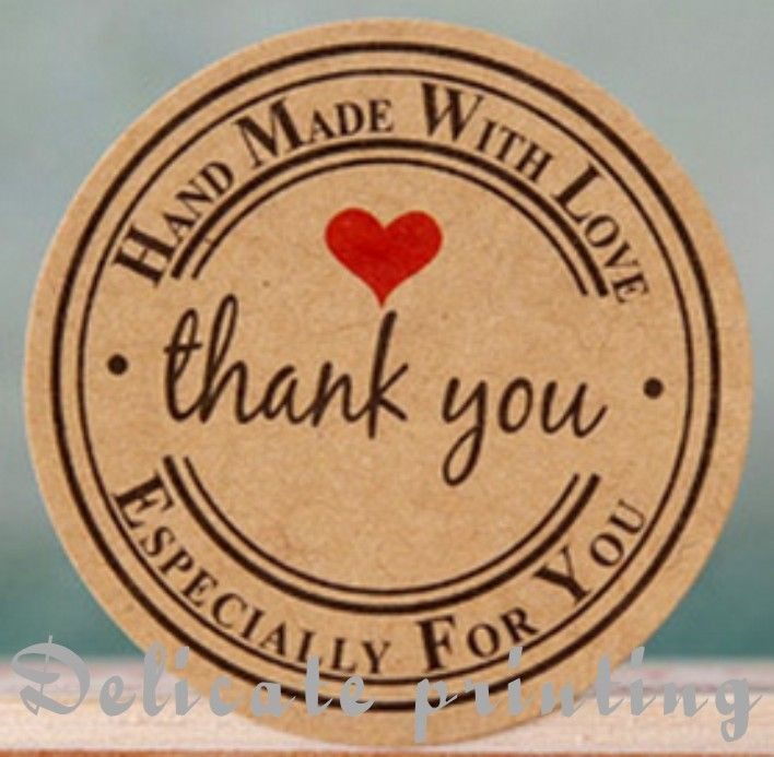Thank you love self adhesive stickers kraft label sticker diameter for diy hand made gift cake candy paper tags