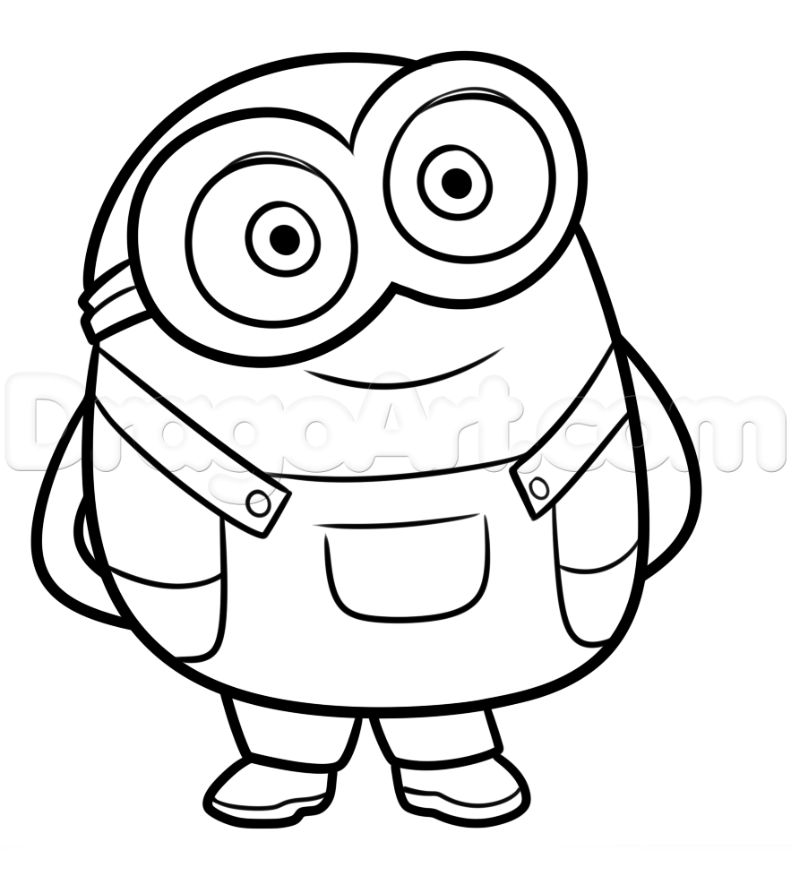 How To Draw Bob From Minions Step By Step Characters Pop Culture Free Online Drawing Tutorial Added Minion Drawing Minion Painting Minions Coloring Pages