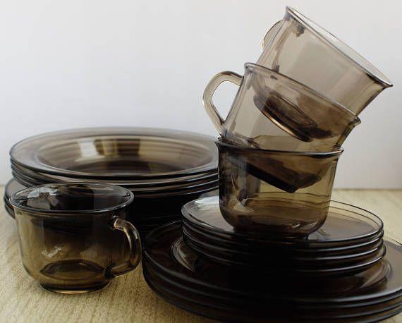 Arcoroc Smoked Glass 20 Piece Dinnerware Service for 4 & Arcoroc Smoked Glass 20 Piece Dinnerware Service for 4 - Arcoroc ...